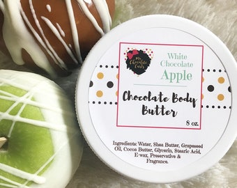 White Chocolate Apple, Body Butter, Chocolate Body Butter, Skincare, Moisturizer, Shea Butter, Cocoa Butter,