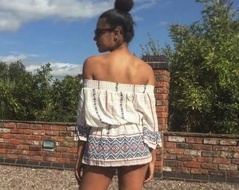 Women's Summer Fashion - Off the shoulder top