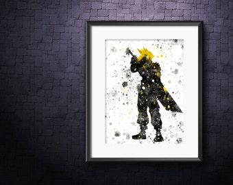 Final Fantasy 7, Cloud FF7 Print, Cloud Strife Poster, Final Fantasy Art, Final Fantasy Print, Watercolor Art, Video Game Art, Retro Artwork