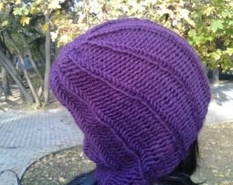 Purple Handmade Hat and Cowl, Wool + Acrylic