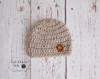 newborn boy hat, newborn crochet hat, newborn crochet beanie, baby boy beanie, baby boy hat, crochet hat, tan crochet hat