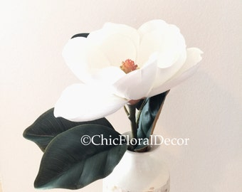 Faux White Magnolia Spray