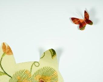 Cat Handmade Fabric Card