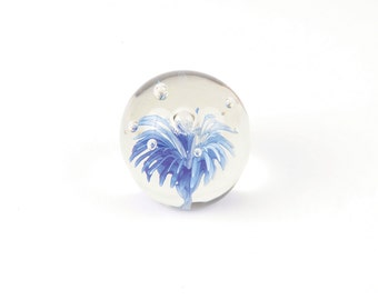 Murano Style Glass Paperweight with Bubbles and Blue Flower