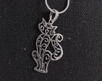 silver pendant necklace, layering, Cat  , modern jewelry,  cute , lover feline friend