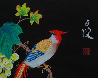 Chinese silk Painting for sale. Wall art China. Water Color Bird Wall Art Vintage Chinese. Chinese Silk Art. Chinese silk paintings value