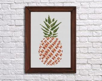 Pineapple Cross Stitch pattern (Buy 1 get 2) - Instant PDF download