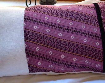 Trichy series 2: cushion, 30x50cm (12 x 20), cottons, beige thick and pink vintage old sari.