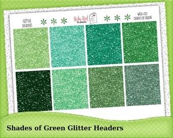 Green Glitter Headers - Glitter Planner Stickers - Erin Condren Planner Stickers - Happy Planner  WGH-212 Shades of Green