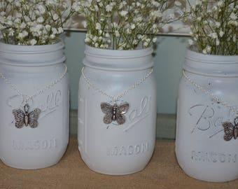 Iced Grey Distressed Mason Jar with Silver Butterfly Chain Farmhouse Decor Shabby Chic Vase Organizer Wedding Shower