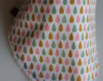 Bandana bib drops pink, green, mustard,