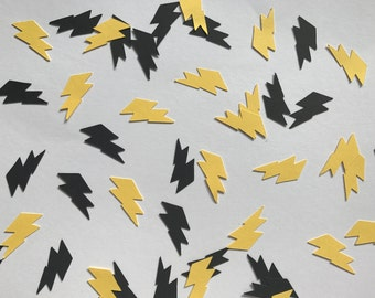 Black and Yellow Lightning Bolt Confetti - Superhero Party Decorations - Boy Birthday Party Decorations - Lightning Bolt Decorations