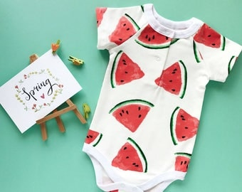 Baby bodysuit, baby onepiece, Watermelon, organic cotton, onesie, baby bodysuits, unicex baby clothes, baby sleepsuit baby clothes