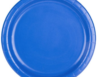 "25 (7"") Cobalt Blue Round Paper Plate, Wedding Supplies, Wedding, Wedding Decor, Plastic Plates, Party Supplies, Paper Plates, Wedding"
