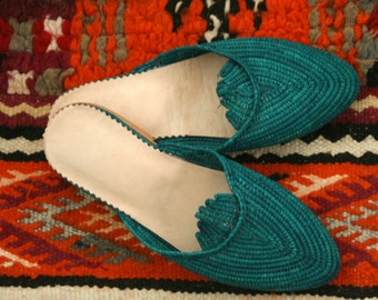 Turquoise Moroccan handmade shoes made of natural raffia, real leather and rubber soles. soft and extremely comfortable! comes in all sizes