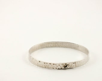 Hammered Textured Sterling Silver  Bangle