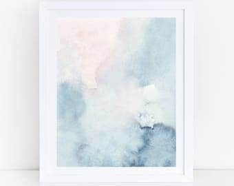 Printable abstract art watercolor wall art sky print blue watercolor print blue