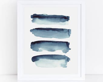 Indigo Print, Indigo Watercolor, Indigo Abstract Print, Blue Abstract Watercolor Print, Indigo Wall Art, Blue Watercolor Print, Abstract Art