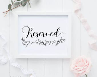 Reserved Sign, Reserved Wedding Reception Printable Sign, Wedding Signage, Gift Table Sign, Wedding Printable, PDF Instant Download #E026