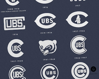 "Chicago Cubs World Series Print - 8""x10"" - Fan Art - Cubs Logos 