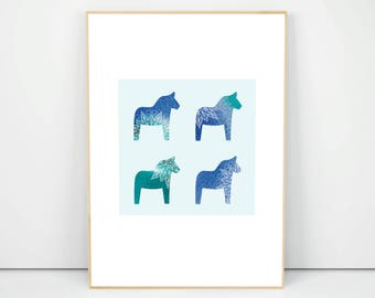 Printed Dala Horse Poster, Dala Horse Art, Swedish Dala Horse, Scandinavian Nursery Decor, Nursery Wall Poster, Symbol Of Sweden, A1 A2