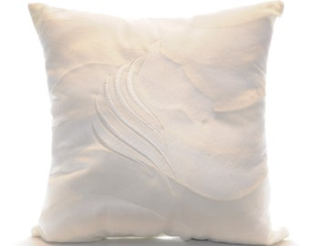 Embroidered White Horse Pillow