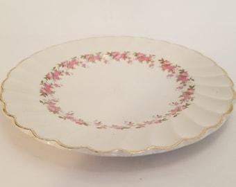 "Myott's Fine White ""Ironstone"" Staffordshire England - Pink Petite Dessert Plate"