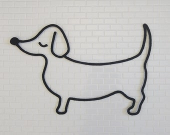 Black knitting, dog Dachshund sausage, breed of dog, animal, wall decor, handmade