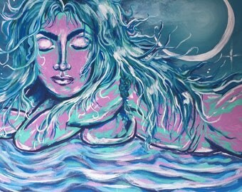 Hand Painted Peace Goddess, Art & Collectibles, Art, Painting, Wall Art, Prints, Blue Painting