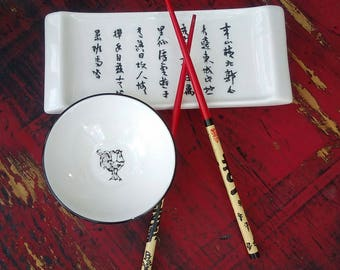 Sushi set Ceramic sushi plate and bowl wood chopsticks