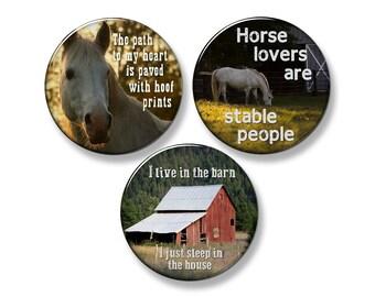 """HORSE SAYINGS Western Fridge Magnet Set - 3 Large 2.25"""" Round Magnets (Set #1)"""