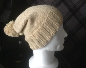 Gents Slouch Beanie Hat - Beige Wool with matching pompom - READY TO SHIP