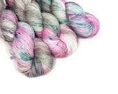 Hand Dyed Yarn 'Surrealistic Pillow' - Sock Weight Variegated Yarn - 463yds/100g 75/25 Merino/Nylon Superwash Tan Pink Teal Yarn