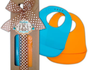 Cute Wrapped Baby Gift (silicone bibs, 2 pack) with handwritten personal note of your choice