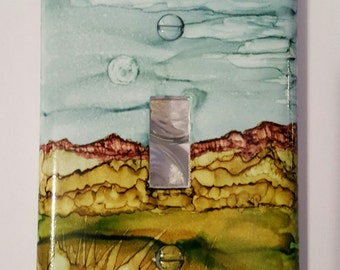 Hand Painted Moon Over Mts Lightswitch Cover