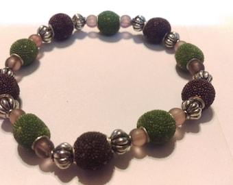 Earth tone beaded stretch bracelet