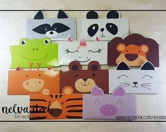 Kit of envelopes in shape of animals, silhouette studio, cameo, kit animals envelope