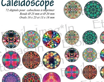 Board 72 digital * Kaleidoscope * to print for cabochons