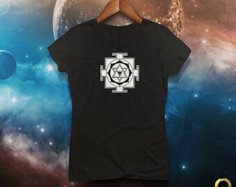 Yantra Shiva Mandala Tantra Yoga Fitted Tee / Tshirt / Top for Ladies, Handmade and Unique