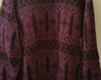 END of WINTER SALE! Purple aztec winter patterned Grandpa sweater