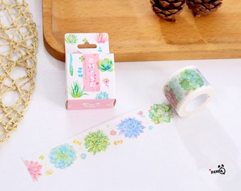 Water Color Succulents Washi Tape,Plants Maksing Tape,Scrapbooking Sticker,Planner Sticker, Decoration Tape,Japanese