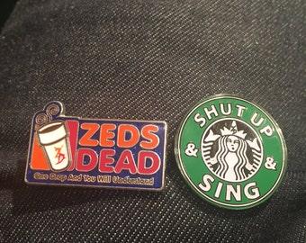 ZEDS DEAD Coffee Break Pin Pack Combo Dunkin Donuts Starbucks