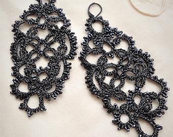 Tatting lace earrings