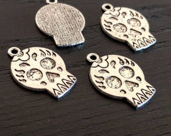 12 Sugar Skull Charms | Dia De Los Muertos | Silver Skull | Skull with Flower | Day of the Dead | Bulk Charms | Ready to Ship USA | AS218-12