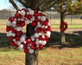 """Peppermint Red 22"""" Christmas Ball Wreath"""