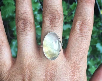 Silver Prehnite Ring / Sterling Silver Ring Size 8.5 / Large Prehnite Ring / Oval Prehnite Ring / Green Crystal Ring / Green Stone Ring