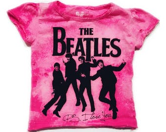 Distressed Pink Girls Beatles Shirt