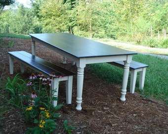 Shabby Chic Farmhouse Style Dining Table with Matching Bench