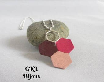 Hexagons leather necklace