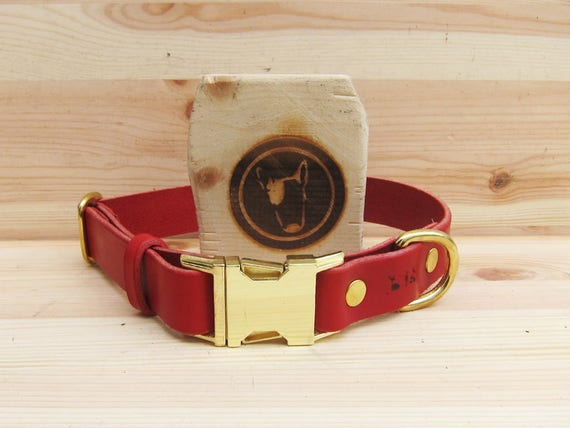 Red Dog Collar, Quick Release Dog Collar, Leather Dog Collar, Colorful Dog collar, Metal Side Release Buckle Dog Collar, Comfort Dog Collar